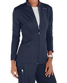 Urbane Ultimate Ultra modern Kristin jackets feature contrast details, a zip front and cozy knit cuffs. Scrubs Uniform, Scrub Jackets, Scrub Tops, Caregiver, Clinic, Nursing, Dental, Zip, Knitting