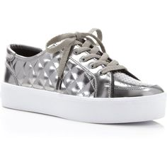 Rebecca Minkoff Metallic Quilted Platform Sneakers ($135) ❤ liked on Polyvore featuring shoes, sneakers, gunmetal, rebecca minkoff shoes, leather shoes, quilted shoes, flatform sneakers and rebecca minkoff