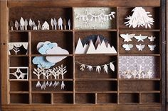 What a magical idea for an old letterpress tray! Paper cutting artwork by Jenny Edwards Origami, Paper Cutting, Cut Paper, Vitrine Design, Papier Diy, Karten Diy, Paper Crafts, Diy Crafts, Box Art