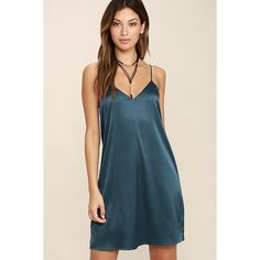 Perfect Illusion Teal Blue Satin Slip Dress ($56) ❤ liked on Polyvore featuring dresses, blue, v-neck dresses, shift dresses, blue satin dress, teal green dress and teal blue dresses