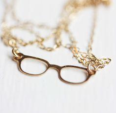 Tiny Glasses Necklace / diamentdesigns on etsy