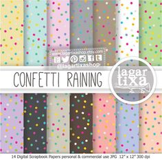 Confetti Raining Digital Paper Pastel Rainbow Fuchsia Teal Lime Red Turquoise Purple yellow Background Patterns blog invitations cards