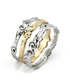 Stack Ring - 3 rings. Silver and Gold. Ruth Doron Designs!