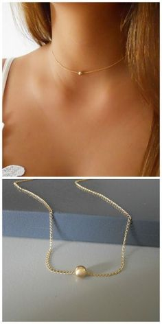A beautiful, delicate everyday bead necklace. Perfect to wear alone or for layering with more necklaces. Gold Circle Necklace, Gold Necklace Simple, Silver Bead Necklace, Kids Gold Jewellery, Rose Gold Jewelry, Jewellery Shops, Jewelry Trends 2018, Latest Jewellery Trends, Bijoux Or Rose