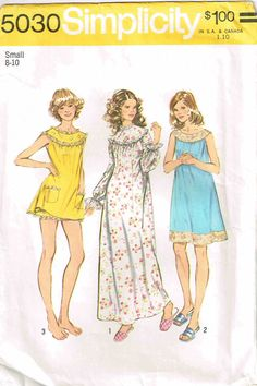 Vintage 1960s Simplicity 5030 Sewing Pattern Night Gown and by PeoplePackages