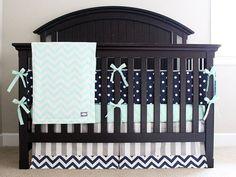 Custom Crib bedding Mint Navy and Grey Baby by GiggleSixBaby
