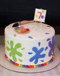 Amazing rainbow art party cake!  See more party ideas at CatchMyParty.com!