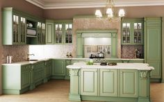 Kitchen: Sophisticated Vintage Kitchen Design Ideas, Charming Green Theme Vintage Kitchen Counter with Exotic Gold Sink and Retro Chandelier