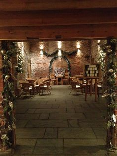 The Oat Barn set up as a reception with Christmas decorations