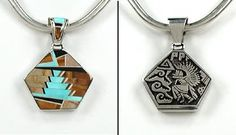 Native American Navajo reversible inlay kachina pendant sterling silver