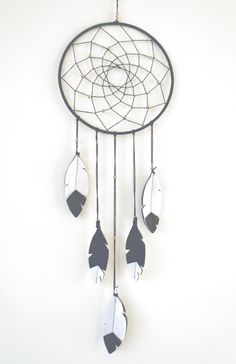 Black and White dreamcatcher with felt feathers. Pin now, check out later!
