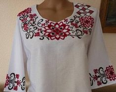 Embroidered blouse Ornament Embroidery Cotton shirt for womens Ukrainian Vyshyvanka Ukrainian Style Ethnic Crewel Embroidery, Machine Embroidery, Modern Fabric, Embroidery Techniques, Embroidered Blouse, White Cotton, Floral Tops, Ornament, Etsy