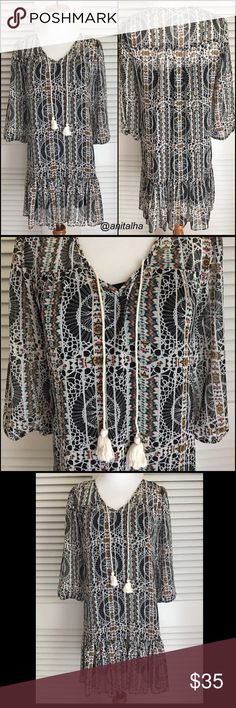 """✌🏼Boho Chic Dress Worn once so it's EUC! 3/4. Sleeves with elastic. Front tie fringed at the bottom. Lined. 100% Polyester. Length 32"""" Bust 17"""" Jodi Kristopher Dresses"""