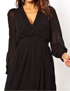Black V Neck Backless Pleated Chiffon Dress 13.67