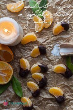 Idealny podwieczorek? Mandarynki maczane w czekoladzie deserowej z odrobiną soli. www.fitlinefood.com