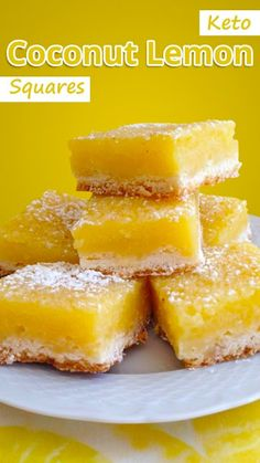 Keto Coconut Lemon Squares Recipe You will NEVER know that these easy, Keto Coconut Lemon Squares are only 100 calories and gluten free! The perfect healthy treat! Low Carb Sweets, Low Carb Desserts, Low Carb Recipes, Dessert Recipes, Keto Desert Recipes, Breakfast Recipes, Snack Recipes, Coconut Flour Recipes Keto, Free Recipes