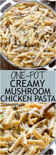Seared chicken strips are mixed through this One-Pot Creamy Mushroom Chicken Pasta, with garlic, mushrooms AND parmesan cheese | https://cafedelites.com