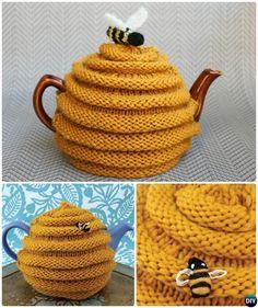 #Knit Beehive Tea Cozy Free Pattern-20 Crochet Knit Tea Cozy Free Patterns  #Kitchen