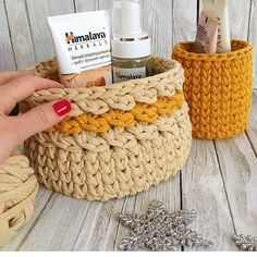 "274 Likes, 3 Comments - @applewhitecrochet on Instagram: ""@knit_krasnodar #fabricyarnbasket #fabricyarn #tshirtyarn #bathroomdesign #childrenroomdecor…"""