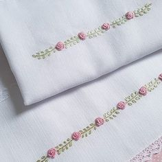 Hand Embroidery Patterns Flowers, Border Embroidery Designs, Hand Embroidery Videos, Embroidery On Clothes, Baby Embroidery, Embroidery Flowers Pattern, Creative Embroidery, Simple Embroidery, Creations