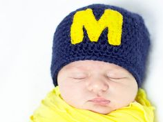 University of Michigan crochet baby cap