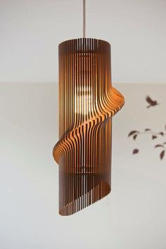 Twisted Lasercut Wooden Lampshade by baraboda  ‪#‎wood‬ ‪#‎design‬ ‪#‎light‬…