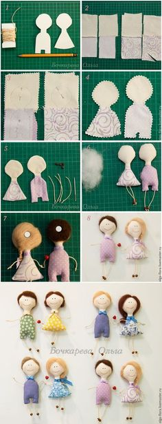 Textile magnets on the refrigerator: we sew a couple of dolls-nerazluchnikov - the Fair of Masters - handwork, handmade // Надежда Вишератина Felt Crafts, Fabric Crafts, Sewing Crafts, Sewing Projects, Tiny Dolls, Soft Dolls, Cute Dolls, Sewing Stuffed Animals, Stuffed Toys Patterns