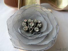 Wedding Hair Flower  Platinum Dove Gray by AnnaDelphiaBridal, $15.00- MOH hair