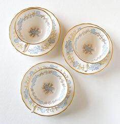 Avondale Tuscan Vintage Cups and Saucers English Bone China Blue White & Gold Set of 3