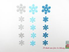 Appliqués thermocollants flocons (15) en flex pailletés bleus et argent patch à repasser noel écusson paillette iron on snowflakes glitter