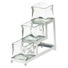 "Cal Mil 1803-4-49 3 Tier Chrome Iron Stair Step Display with Jars - 4"" x 12 1/4"" x 7 1/4"""