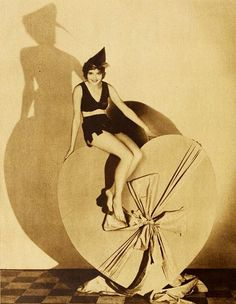 Actress Marilyn Morgan atop a giant heart for Valentine's Day, 1930. #vintage #Valentines #1930s