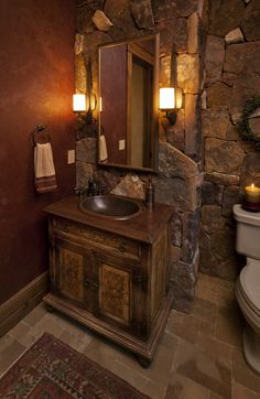 Half bathroom ideas and they're perfect for guests. They don't have to be as functional as the family bathrooms, so hope you enjoy these ideas. Update your bathroom decor quickly with these budget-friendly, charming half bathroom ideas Rustic House, Rustic Bathrooms, Bathroom Decor, Stone Bathroom, Powder Room Design, Home On The Range, Bathroom Design, Beautiful Bathrooms, Eclectic Interior