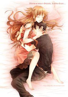 Yuuki Asuna & Kazuto - By Sword Art Online Kirito and Asuna ღ Sword Art Online Asuna, Sao Kirito And Asuna, Kirito Kirigaya, Tous Les Anime, Nice Dream, Fandoms, Cute Anime Couples, Anime Couples Cuddling, Anime Ships
