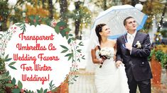 Make this Winter wedding more magical, romantic and most importantly, budget friendly with transparent umbrellas from USUmbrellas.com! #winterwedding #weddingfavors #blog