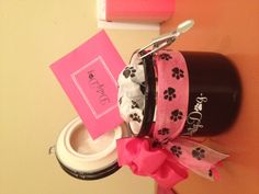 """This is the """"treat jar"""" that Oprah and 25 A-List celebrities will be getting in their gift bag at: Hollywoof. We are so excited. The cards are all hand embossed and personalized. Wish us luck, hopefully one of the stars will want to endorse: www.DirtyDogLovers.com"""