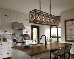 Murray Feiss F2957/4DWO/ORB Dark Weathered Oak / Oil Rubbed Bronze Lumiere 4 Light Island Chandelier - LightingDirect.com