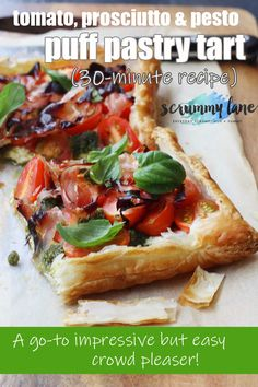 Baby tomato, pesto & prosciutto tart is part of Easy Veggie pizza With Ranch - A simple puff pastry tart topped with ricotta, baby tomatoes, pesto & prosciutto Easy enough for a simple throwtogether lunch, but impressive enough to serve to guests Quiches, Puff Pastry Pizza, Savory Pastry, Savoury Tarts, Tomato Tart Puff Pastry, Prosciutto, Vegetarian Recipes, Cooking Recipes, Healthy Recipes