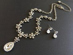 Excited to share this item from my shop: Flowers necklace, rhinestones necklace, crystals necklace, wedding necklace, bridal jewelry set, statement necklace, chandelier necklace #silver #wedding #earrings #victorian #blingglam #anniversarygift #princessjewelry