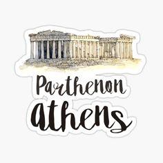 Tienda de creativelolo | Redbubble Printable Stickers, Cute Stickers, Planner Stickers, Parthenon Athens, Travel Wall Decor, Watercolor Stickers, Tumblr Stickers, Travel Illustration, Aesthetic Stickers