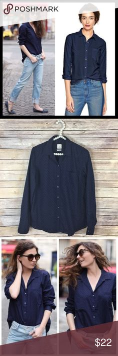 gap // swiss dot navy blue fitted boyfriend shirt This cute, versatile button down top from GAP features a subtle Swiss dot texture. Fitted boyfriend style. Lightweight 100% cotton. A great pick for spring. Worn once and in great preowned condition. GAP Tops Button Down Shirts