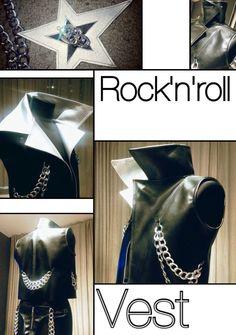 Жилет в стиле рок-н-ролл из двустороннего кожзама и отделкой цепями.