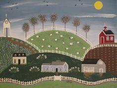 Primitive Folk Art painting by cabinwood on Etsy, $55.00