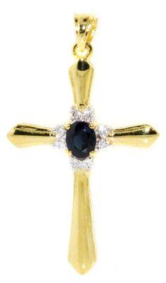 Angara Blue Sapphire Cross Pendant in Yellow Gold 6NdmqAJtEc