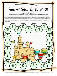 Summer Math Games, Puzzles and Brain Teasers from Games 4 Learning. $
