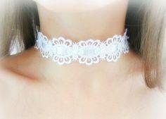 White lace choker necklace floral lace choker by MalinaCapricciosa