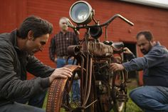 Mike Wolfe and Frank Fritz get their hands on a bike in American Pickers.