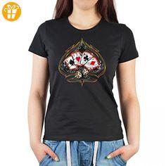 T-Shirt für Damen mit Poker Aufdruck - 4 of a kind - Bedrucktes Zocker Ladyshirt als Geschenk - Schwarz, Größe:S (*Partner-Link)