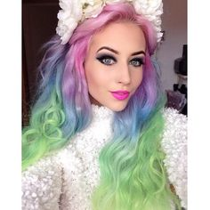 "@amythemermaidx on Instagram: ""Coziest jumper ???"" ❤ liked on Polyvore featuring tops, sweaters, jumper top and jumpers sweaters Pastel Rainbow Hair, Colorful Hair, Neon Hair Color, Extreme Hair Colors, Birthday Wishes Flowers, Goth Beauty, Color Me Beautiful, Coloured Hair, Fashion Stylist"
