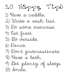 10 steps to happiness.